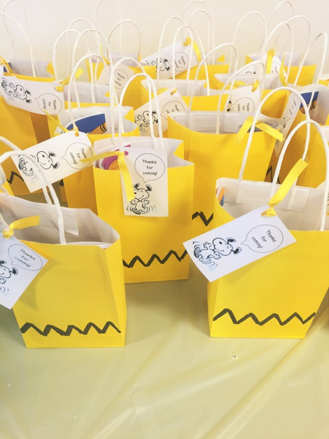 Charlie brown birthday goodie bags
