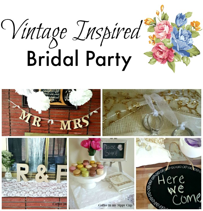 vintage inspired bridal party collage